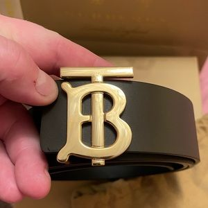 BURBERRY Reversible Monogram Motif Leather Belt - Gold Buckle - Size: 38 - 95cm